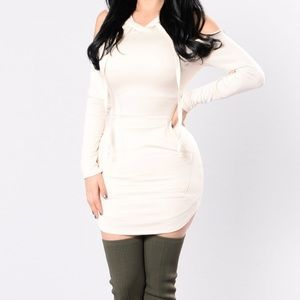 Fashion Nova M Cold Shoulder Hooded Dress